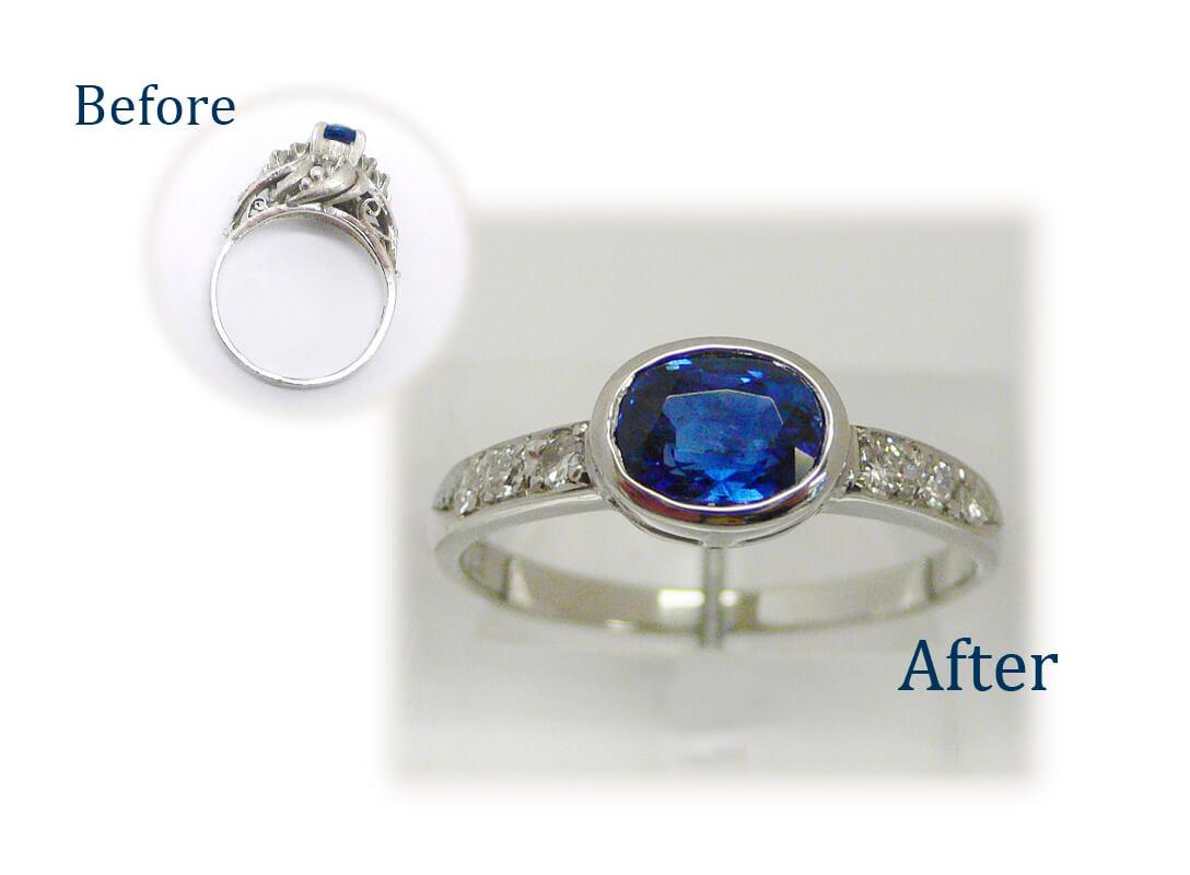 サファイヤの指輪をシンプルなデザインに
